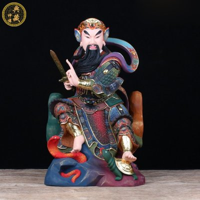 【麗悅軒】新品玄天上帝神像 古彩樟木雕供奉甲上帝 上帝公神像玄天上帝擺件dzsf-538