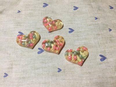 28mm*22mm 彩色珍珠 愛心 造型DIY素材 奶油殼 貼鑽小物 飾品材料 (現貨)