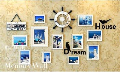 希臘地中海風實木相框牆-藍白/白 不傷牆面壁貼純手工仿舊設計 情侶婚紗照片牆相片牆 客廳餐廳民宿房間佈置-輕居家4501
