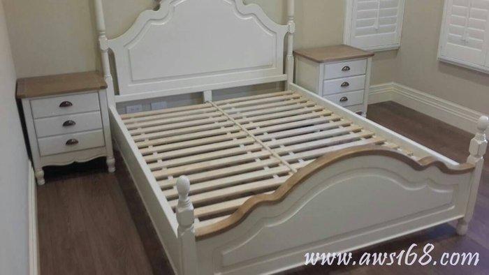 鄉村風雙人床南法鄉村加大雙人床 美式雙人床 歐式古典雙人床 全實木床組 復古 仿舊