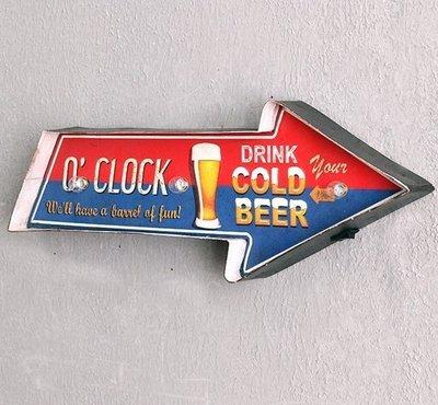 招牌燈牌壁掛式led電子燈 LOFT工業風仿舊BEER BAR標誌箭頭指示燈飾 美式復古鐵皮畫啤酒吧立體字圖案裝飾LED