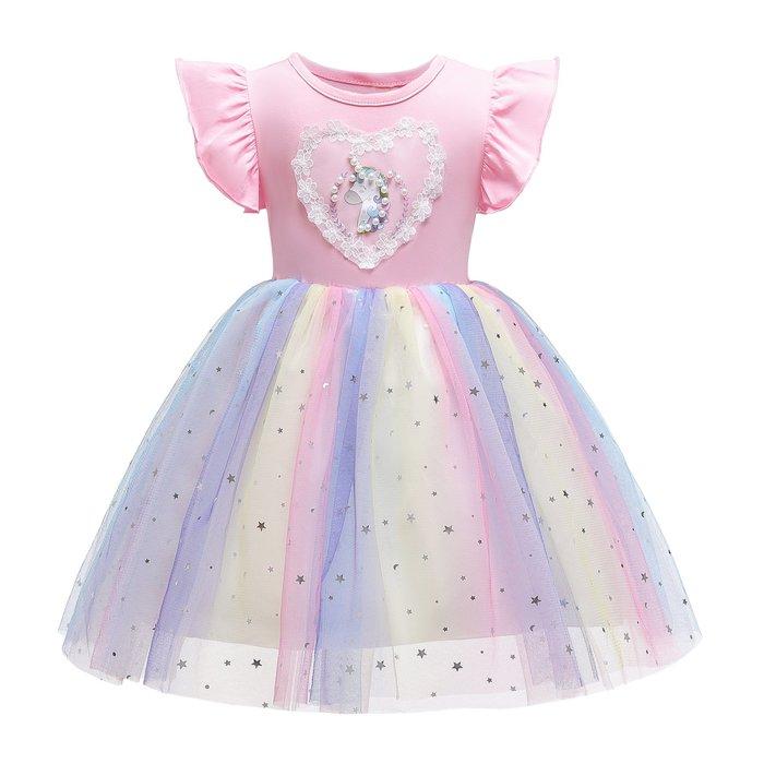 •*~ 辣媽咪衣飾小舖 ~*•❤童裝系列❤K960435韓版大童夏款甜美清新時尚蓬蓬小飛袖公主禮服公主洋裝