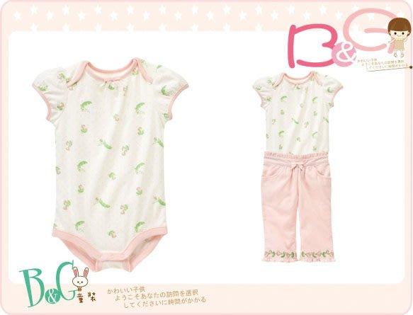 【B& G童裝】正品美國進口GYMBOREE 豌豆小點粉色邊短袖連身衣18-24mos