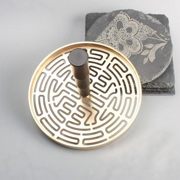 *六蓮*超大12cm(壽字款)銅香篆+黑檀木手柄(銅本色)香拓香道香模香印香粉打篆工具