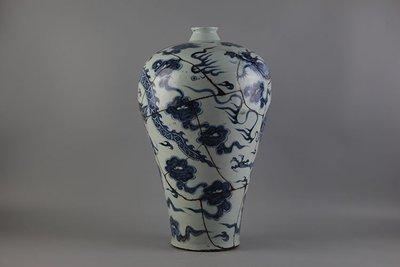 ㊣姥姥的寶藏㊣元青花龍紋大號梅瓶修補品 殘次品修補件