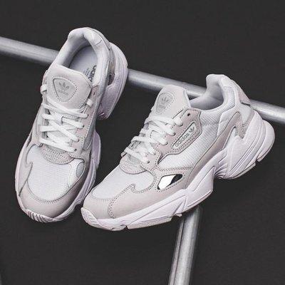 =E.P=adidas Originals Falcon 老爹鞋 個性 休閒鞋 厚底 麂皮 白灰銀 女 B28128