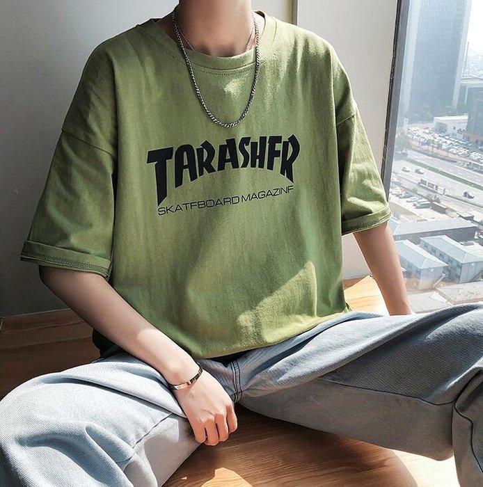 韓系夏裝新款字母印花男士寬松版圓領短袖T恤 C228