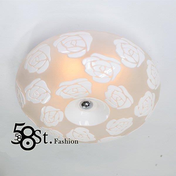 【58街】設計師款式「立體玫瑰花紋 刻花吸頂燈」複刻版。GZ-181