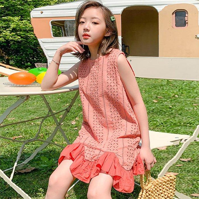 •*~ 辣媽咪衣飾小舖 ~*•❤童裝系列❤K960431韓版大童夏款甜美洋氣鏤空拼接魚尾裙擺公主休閒百搭洋裝