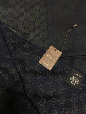 全新 保證真品 純羊毛 Gucci 緹花織紋 藍色 深藍色 圍巾 義大利製 雙面雙色 男用 女用 100%羊毛 長方型