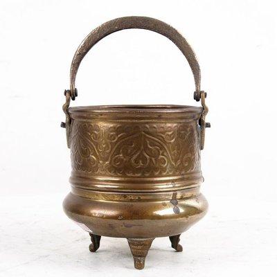百寶軒 19世紀西洋民俗收藏古董銅器黃銅小奶缸提水桶小型銅壺銅桶8品 ZG1238