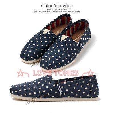 ☆╮LOVE TONES╭☆美國正品TOMS鞋『免運』Navy Polka Dot Linen【藍點點】現貨+預購