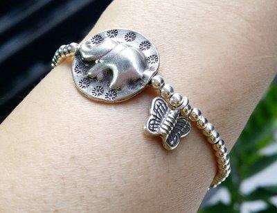 嗨,寶貝銀飾珠寶* 925純銀飾 寶石飾品☆大象 蝴蝶 福相 福疊-銀珠混搭手鍊☆客製化