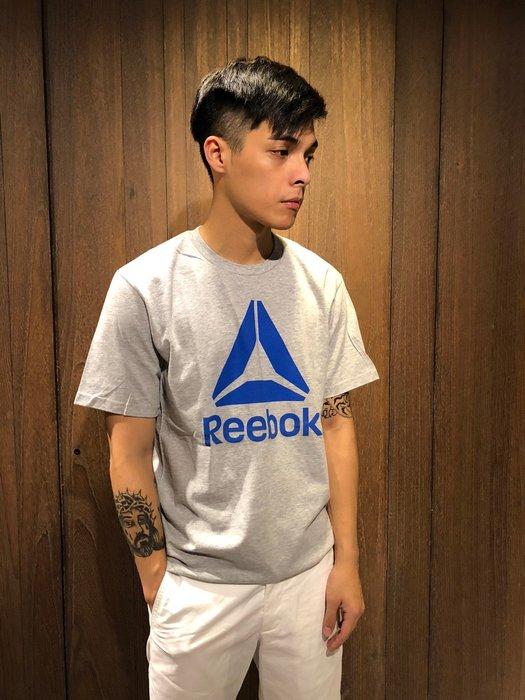 美國百分百【全新真品】 Reebok 銳跑 T恤 T-shirt 短袖 logo 運動 休閒 男款 灰色 M號 AO01