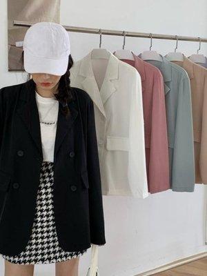 秋裝新款韓版休閒寬鬆英倫風氣質黑色小西裝外套女士薄款西服上衣 限時免運