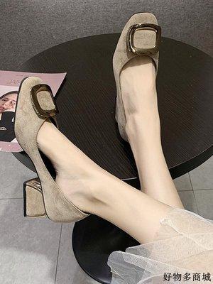 單鞋 跟鞋 韓版百搭女鞋 配裙子的單鞋女中跟新款少女淺口粗跟鞋方扣絨面舒適上班鞋子全館免運價格下殺