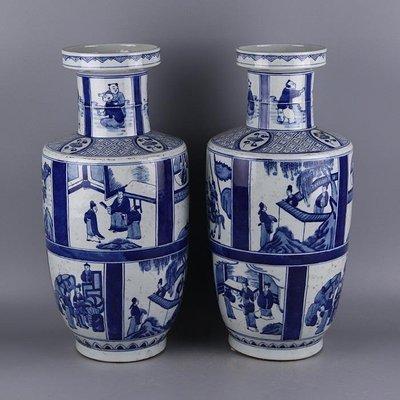 ㊣三顧茅廬㊣ 清康熙年制青花人物紋棒槌瓶一對 官窯古瓷器 古玩古董收藏