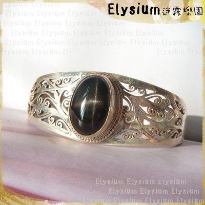 Elysium‧迷霧樂園〈CSS002A〉尼泊爾‧ 雕花鏤空款 十字星光 黑星石 925銀手工 開口手鐲/手環