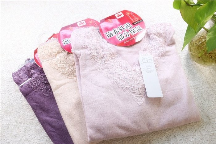 日本發熱纖維 女士保暖冬季V領蕾絲內衣 V領提花輕薄暖 貼身柔軟 日本衛生衣 日本保暖衣