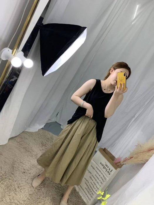 Smile House~【韓版】~素面百搭口袋抽繩寬長寬褲裙((TKPBKFa0872))