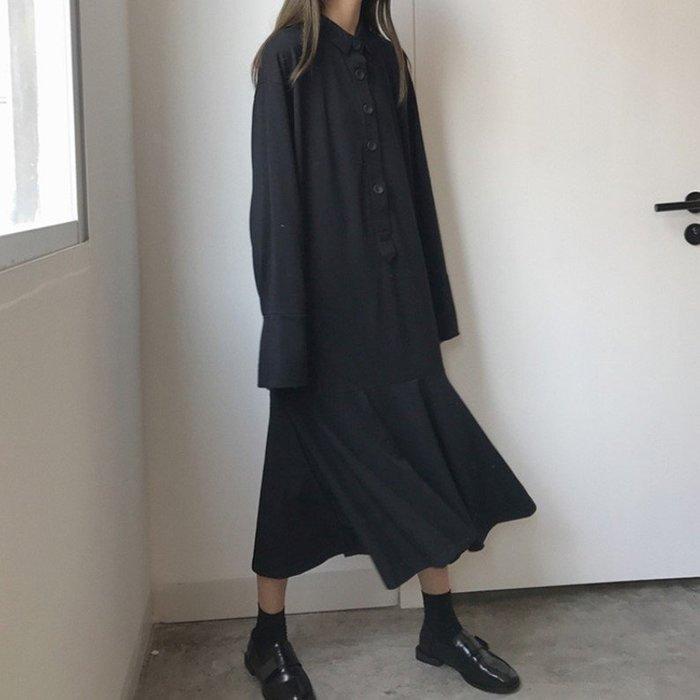 個性連身裙學院風復古單排扣荷葉邊拼接魚尾裙(1件)_☆優購好SoGood☆