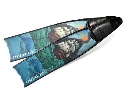 【Water Pro】{Prussian Blue}-普魯士藍 加勒比海 玻璃纖維 長蛙鞋 自由潛水 含Pathos腳套