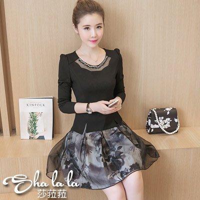 SHA LA LA 莎菈菈 韓版圓領兩件式印花長袖洋裝2色(M~3XL)2016102312