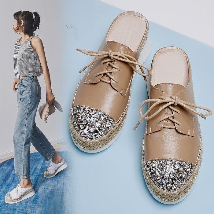 『P.M❤SHOP』2020新款夏真皮厚底系帶白色半拖鞋休閒坡跟松糕底水鑽白色涼拖鞋