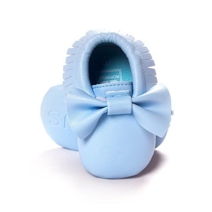 寶貝倉庫~歐美款~可愛藍蝴蝶結流蘇軟底鞋~學步鞋~不掉鞋~寶寶鞋~幼兒鞋~學走鞋~鬆緊帶設計~坐學步車穿~彌月送禮