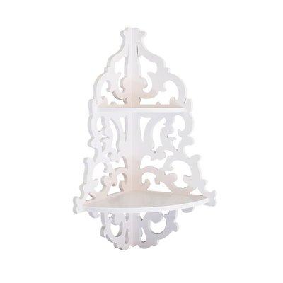 歐式田園白色防水墻角轉角架置物架花架臥室客廳墻面裝飾隔板掛件