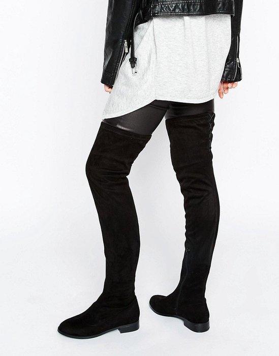 ◎美國代買◎ASOS拼接鞋面合身筒身設計平底鞋底經典百搭款性感麂皮過膝靴平底過膝靴~歐美街風~大尺碼