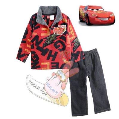 出口美國CARS閃電麥坤紅底字母印花款搖粒絨長袖厚T恤+長褲套裝(95、100CM適用)保暖上市
