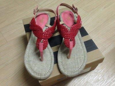 ☆°全新品☆° 清衣櫃 ~ 日本美鞋 Minx 紅色編織夾腳涼鞋/人字涼鞋