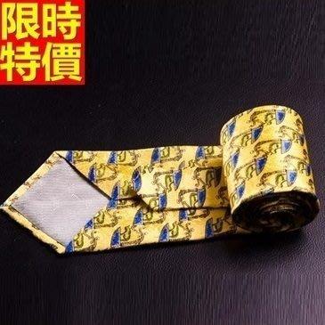 領帶 桑蠶絲男配件-印花真絲條紋商務休閒手打領帶66ae44[獨家進口][米蘭精品]