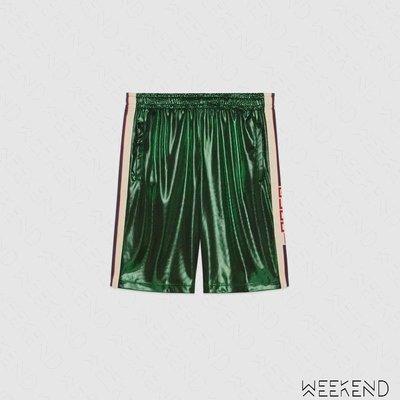 【WEEKEND】 GUCCI Laminated 側邊Logo織帶 短褲 綠色 19春夏 553948