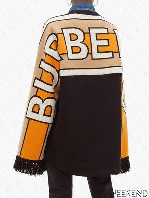 【WEEKEND】 BURBERRY 背後大Logo 流蘇袖口 長袖 上衣 衛衣 黑色 20春夏