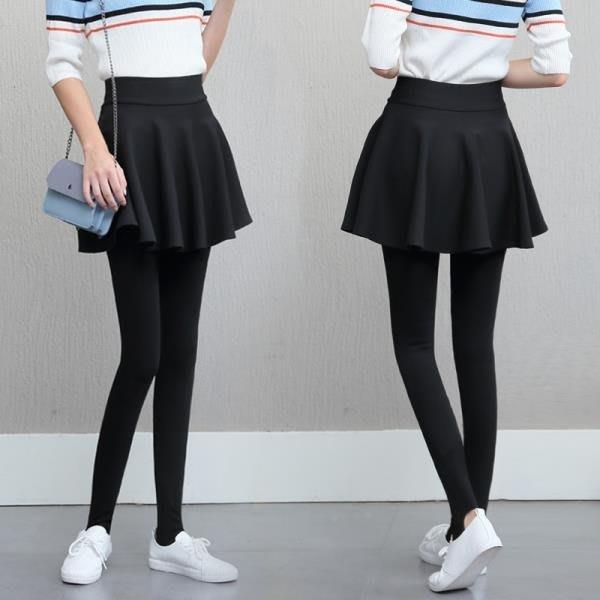 秋季外穿假兩件打底褲裙褲女新款顯瘦帶裙子連褲裙秋冬季加絨加厚