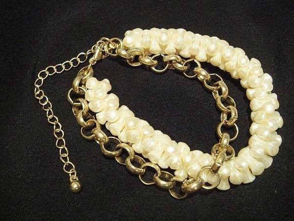 美國帶回,全新從未戴過質感珠珠粗金鍊造型手環手鍊,低價起標無底價!本商品免運費!