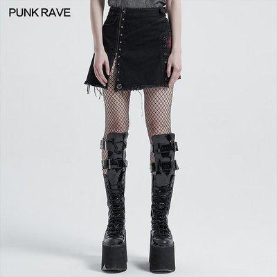 beauty女孩 小破家 PUNK RAVE pr朋克狀態女裝 蒸汽朋克粗狂拼接短半裙
