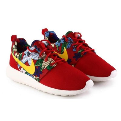 =CodE= NIKE WMNS ROSHE ONE PRINT 花卉網布慢跑鞋(紅黃) 599432-674 輕量 女
