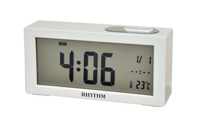 RHYTHM CLOCK 麗聲白色液晶自動感光照明星期.日曆.溫度貪睡嗶嗶聲鬧鐘 型號:LCT092NR03【神梭鐘錶】 台北市