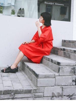 暗黑小眾  綁帶系帶 慵懶簡約寬松顯瘦 長款短袖襯衫式連衣裙