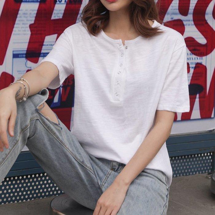 【極簡時尚】純棉排釦短袖t恤小v領短袖上衣