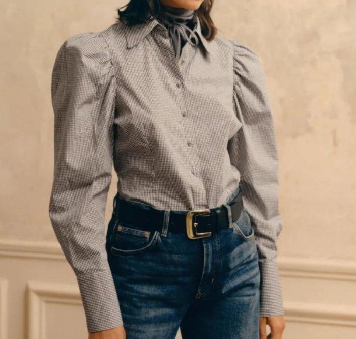 #襯衫#歐美新款秋季格子寬鬆襯衫上衣U77-36399