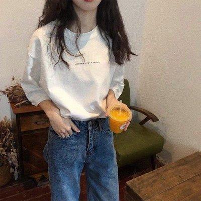 YEAHSHOP 夏季韓范寬鬆純色字母印花五分袖 T恤 顯Y185