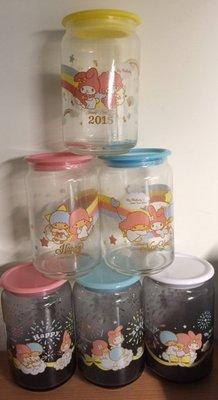 7-11 美樂蒂&雙子星~~~40周年紀念限定造型限量玻璃儲存罐750ml~~~整組售