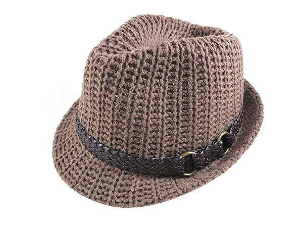 ☆二鹿帽飾☆ 秋冬限定/ 男帽女帽 -流行質感(咖啡鐵環串皮革)緞帶設計.韓版復古針織爵士帽-3色