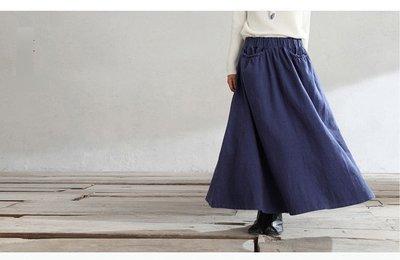 (老銀屋)設計款鬆緊腰毛邊口袋長裙