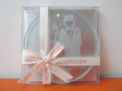 【Le Meridien】寒舍艾美酒店 透明 玻璃材質 Just Married 字樣 COASTER 杯墊 保證全新正品/真品 現貨