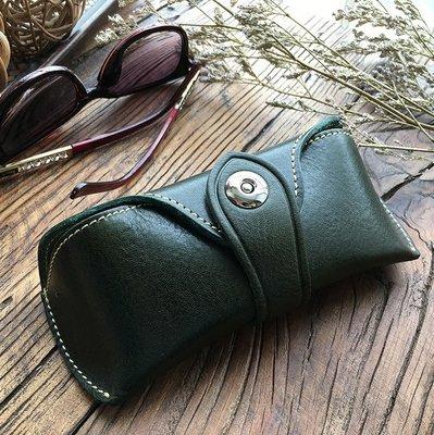 2018真皮複古頭層牛皮植鞣革墨鏡太陽眼鏡盒眼鏡盒眼鏡包內有托架